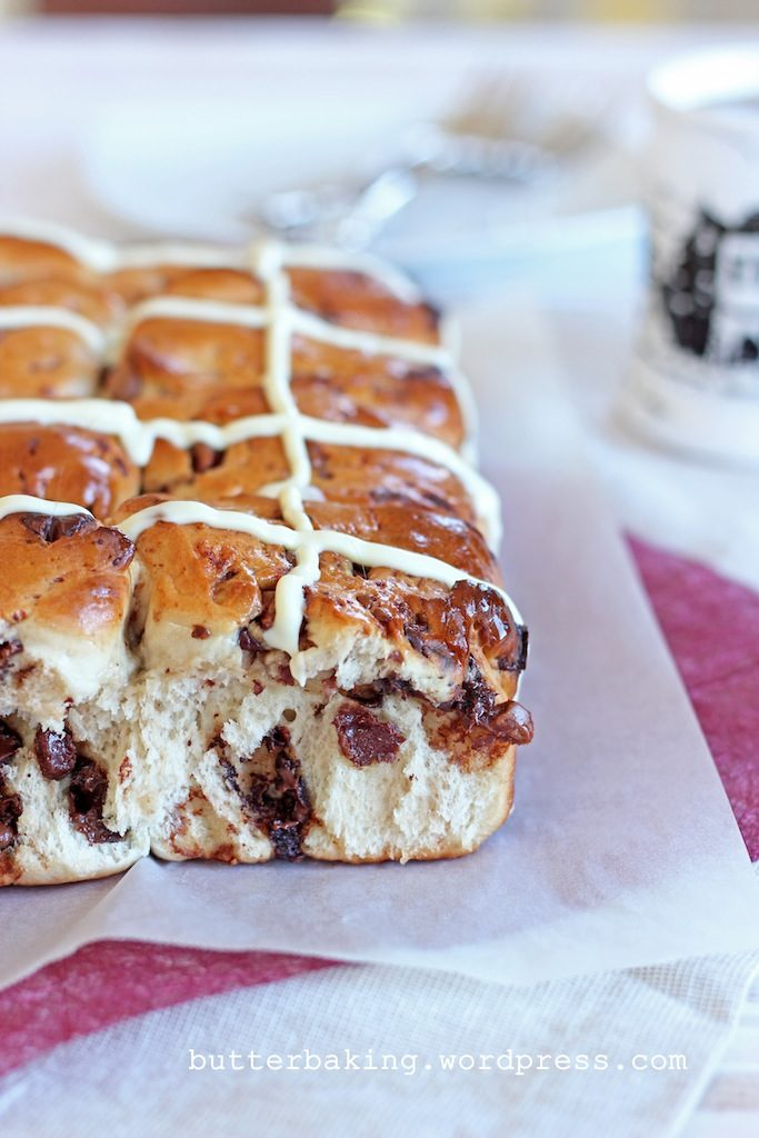 Chocolate Chip Hot Cross Buns | Butter Baking
