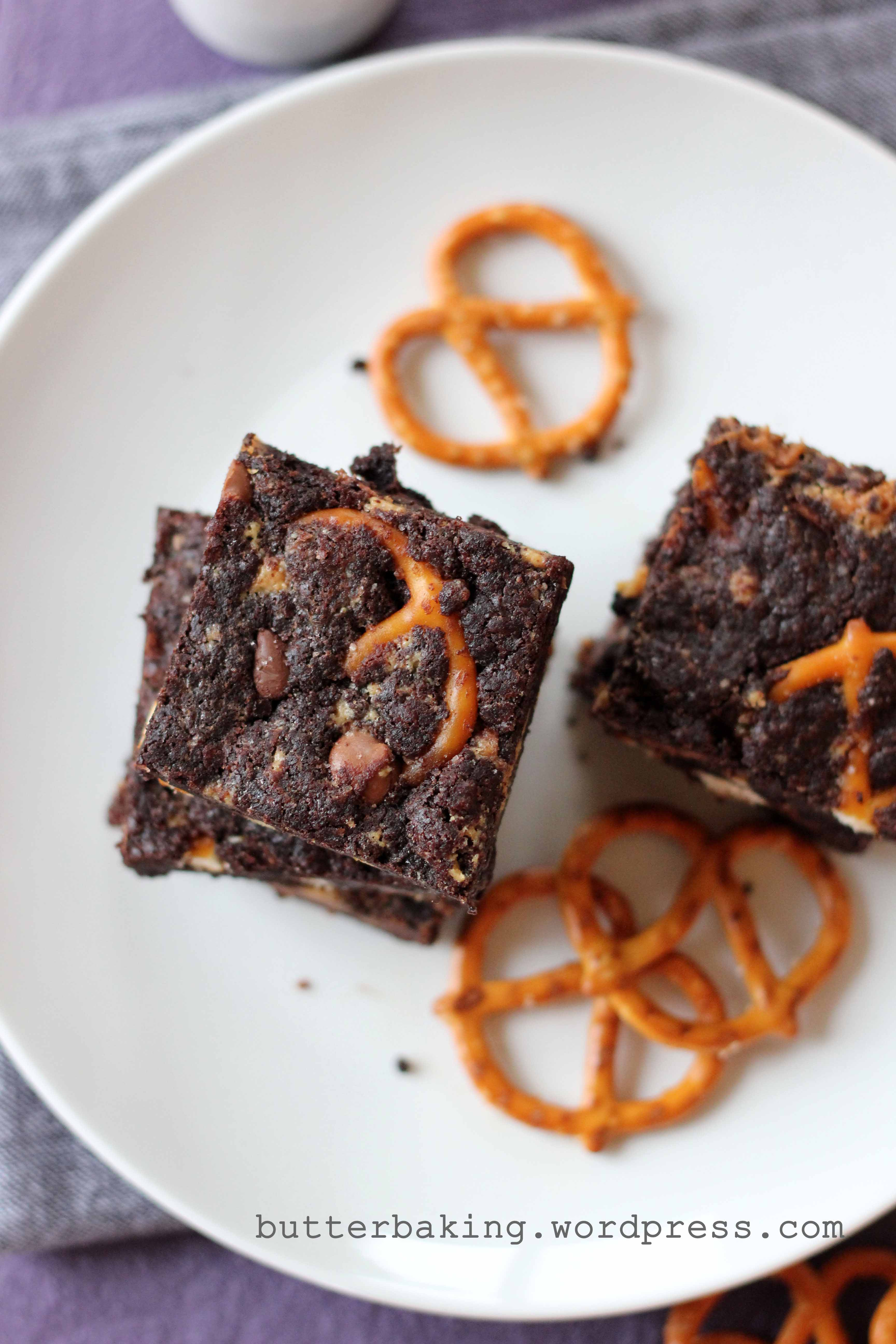 Pretzel, Chocolate Chip and Peanut Butter Truffle Brownies | Butter Baking