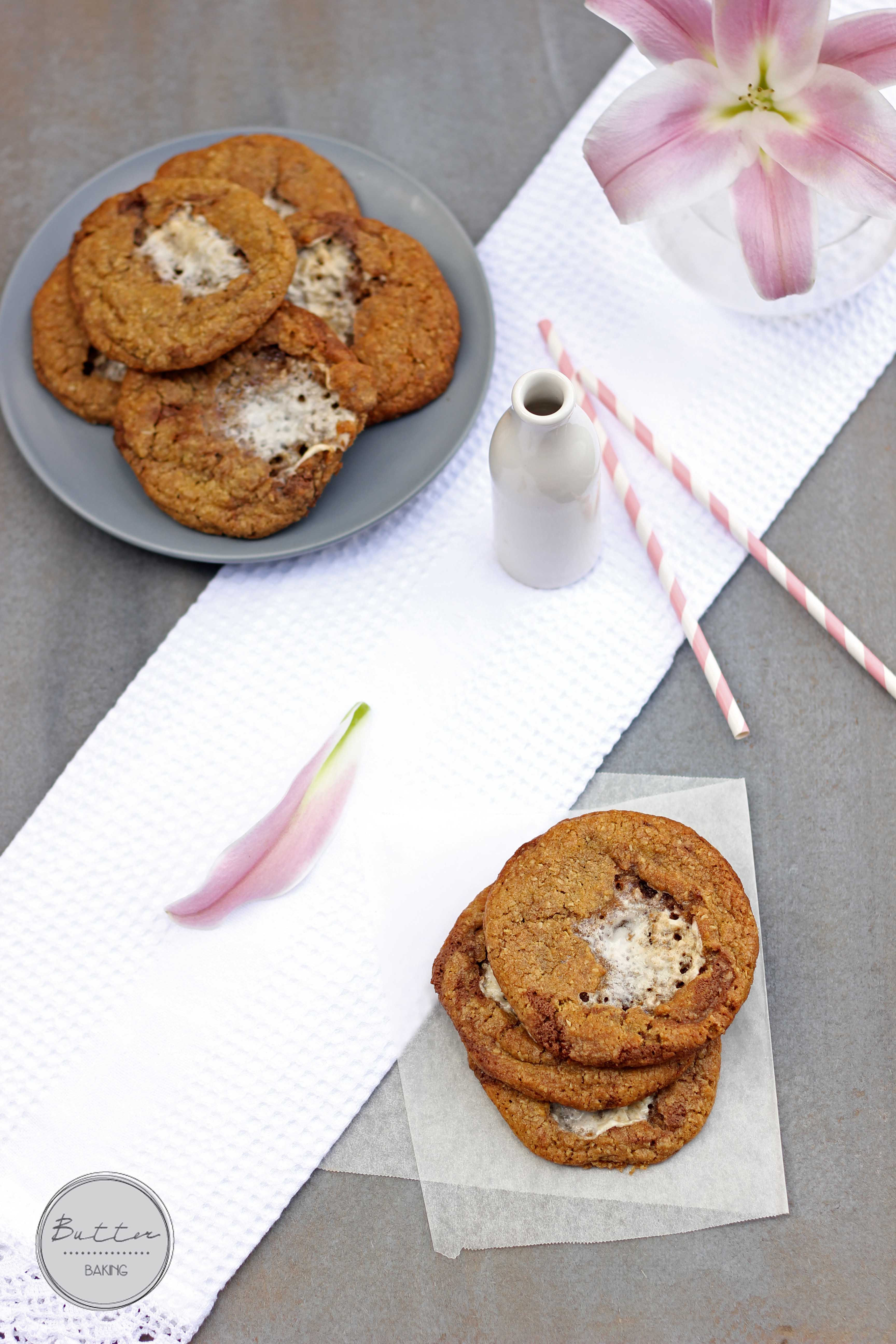 Marshmallow stuffed chocolate truffle chunk cookies   Butter Baking