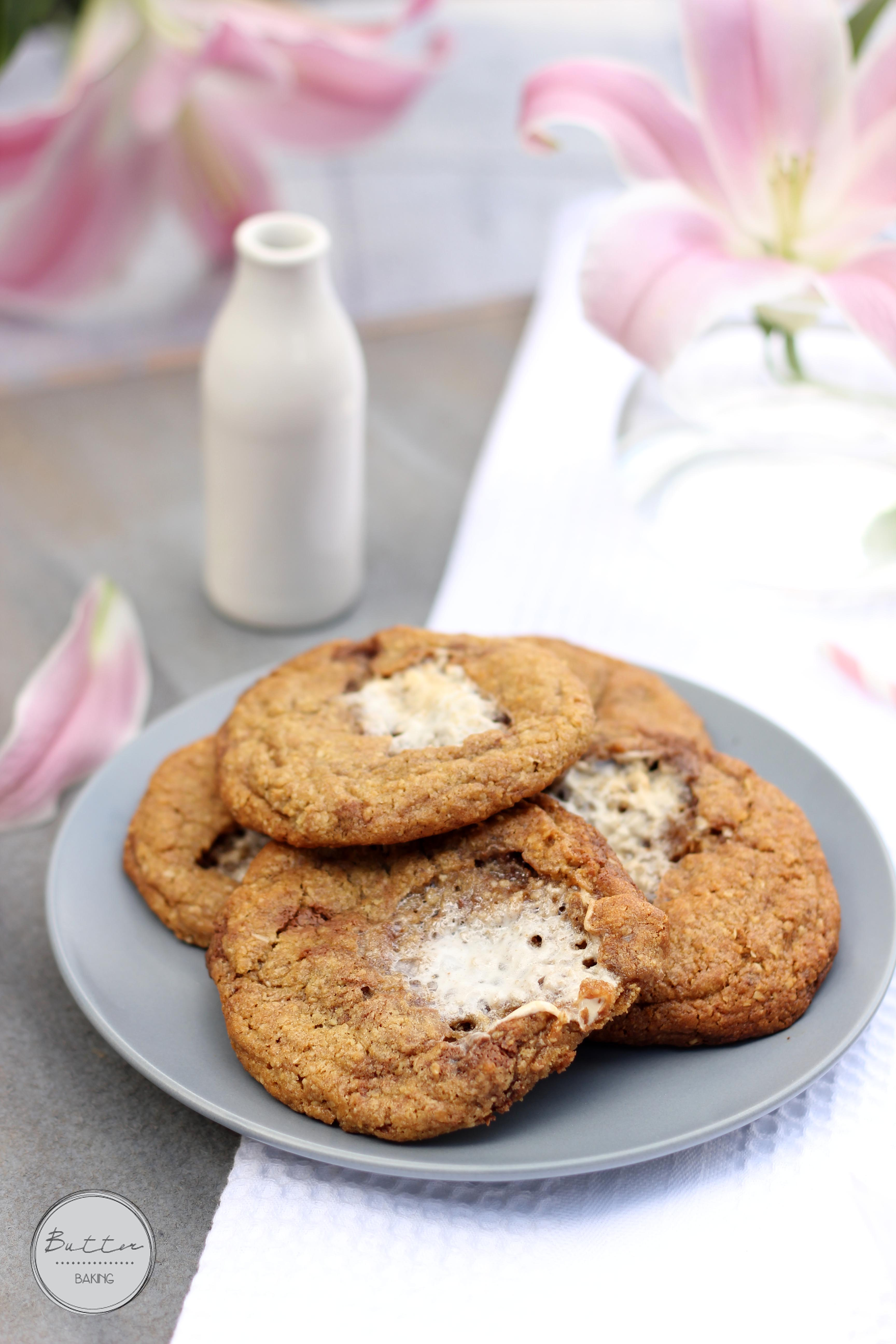 Marshmallow stuffed chocolate truffle chunk cookies | Butter Baking