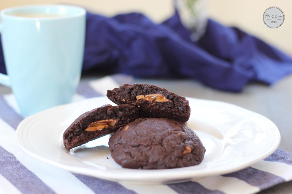 Fudgy Caramel Triple Chocolate Chip Cookies | Butter Baking