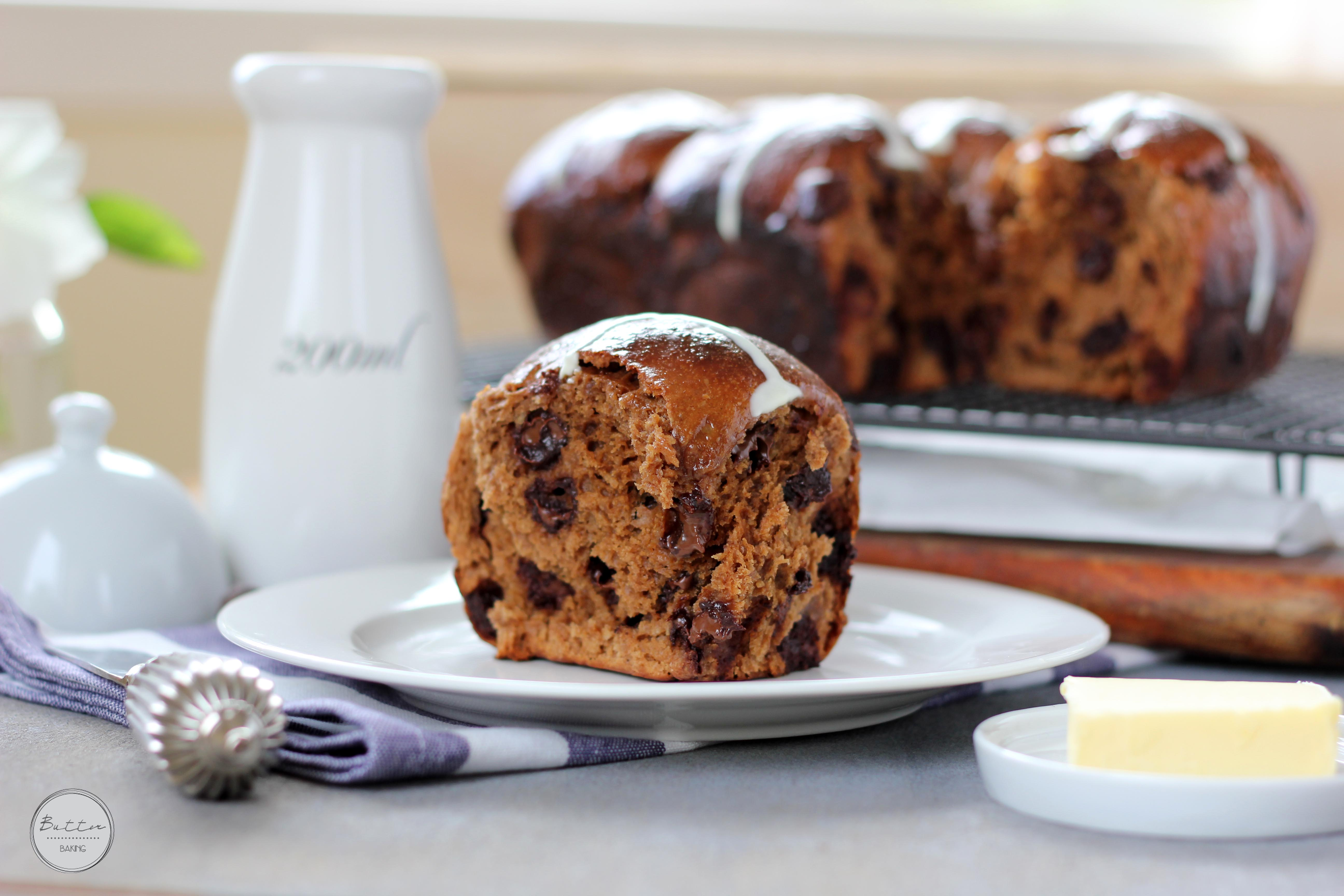 Mocha choc chip coconut hot cross buns | Butter Baking