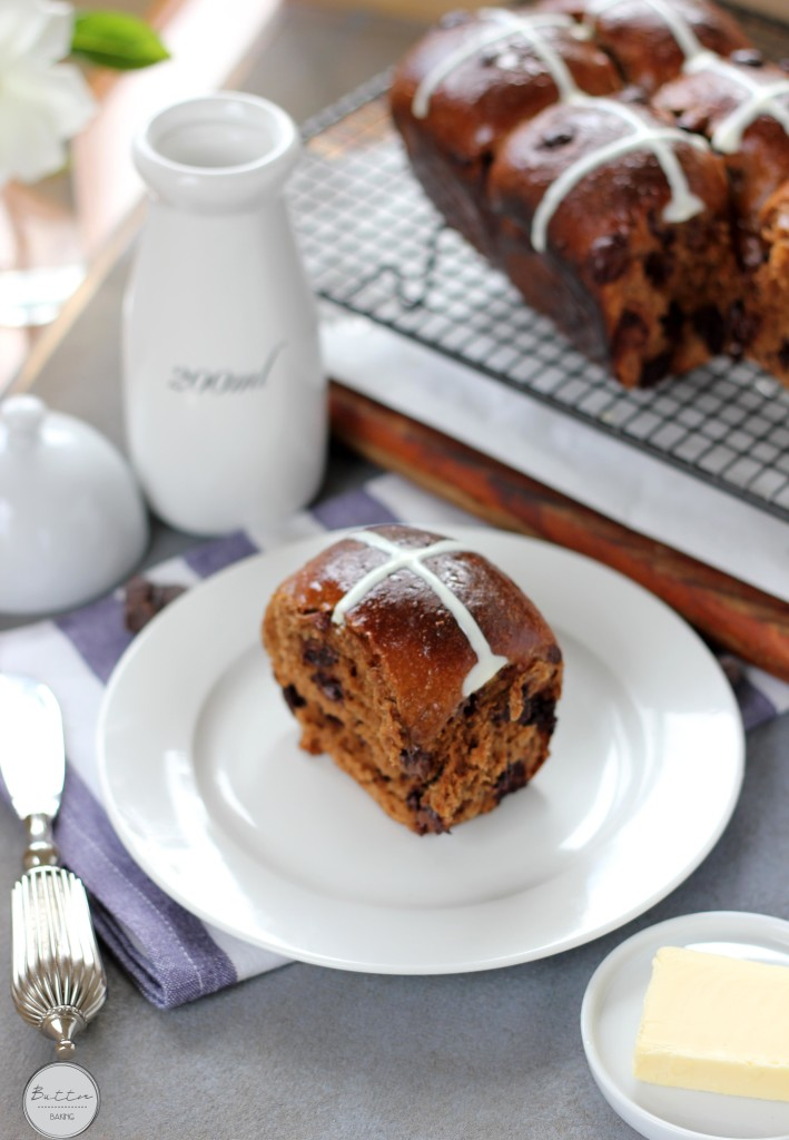 Mocha choc chip coconut hot cross buns | Butter Baking