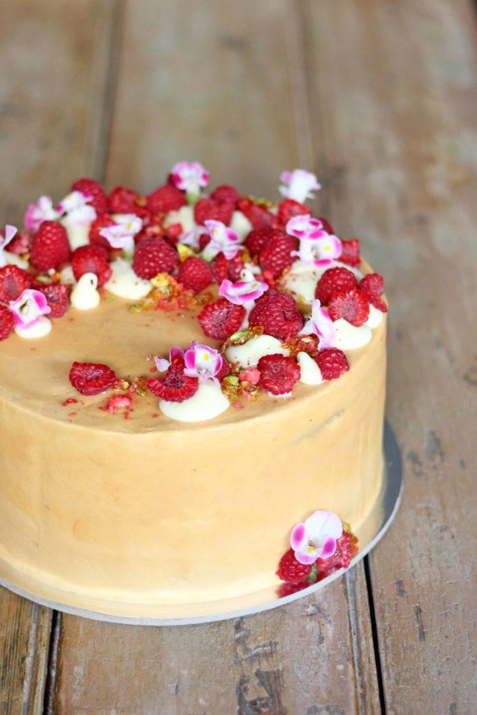 Raspberry, caramel and vanilla cake
