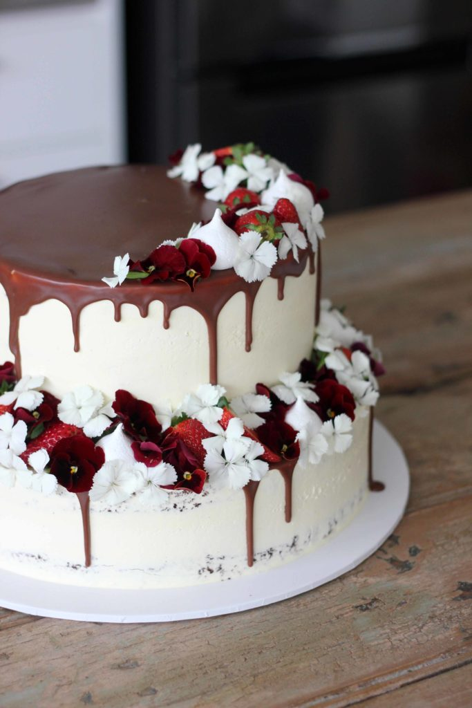 Tiers of strawberries and cream and chocolate fudge | Butter Baking