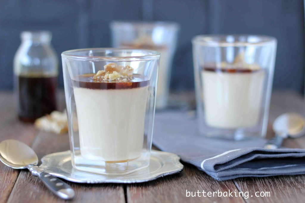 Coffee Caramel Panna Cotta with Walnut Praline   Butter Baking