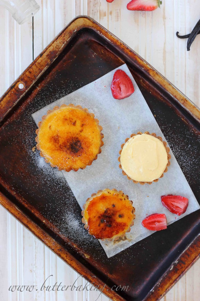 Creme Brûlée Tarts with Roasted Strawberries | Butter Baking