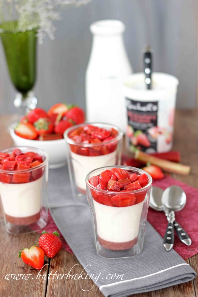 Wild Strawberry and Rhubarb Yogurt Panna Cotta | Butter Baking