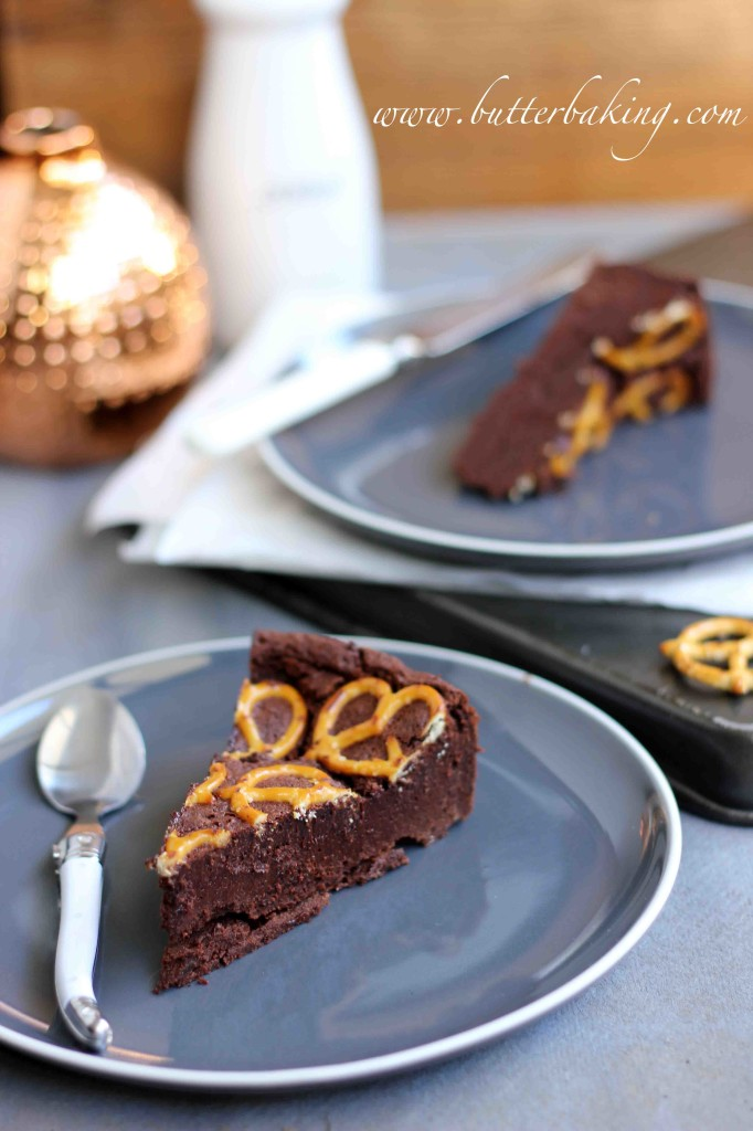 Flourless Salted Chocolate Fudge Cake with Pretzels   Butter Baking