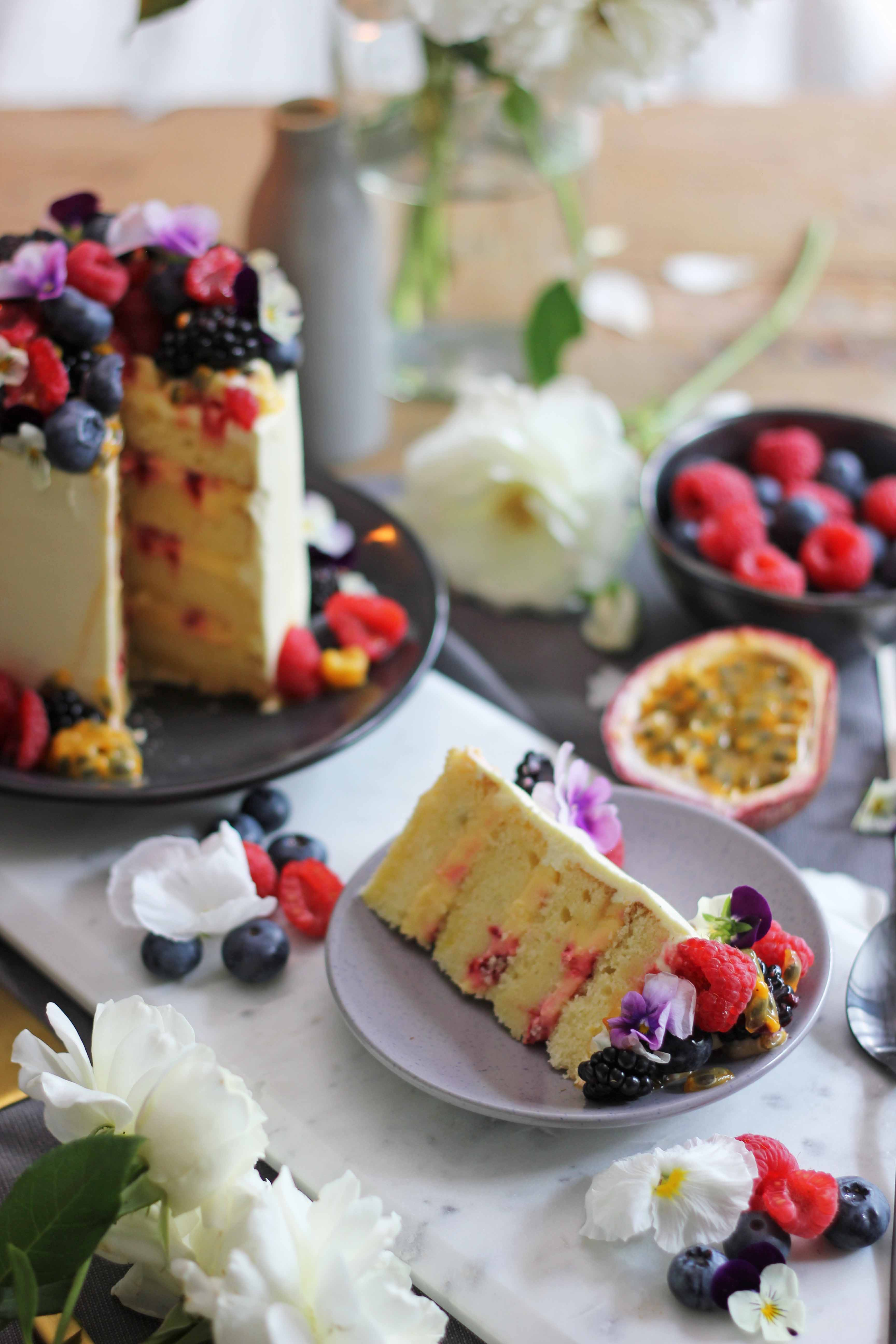 Passionfruit, vanilla and raspberry layer cake with cream cheese frosting | Butter Baking